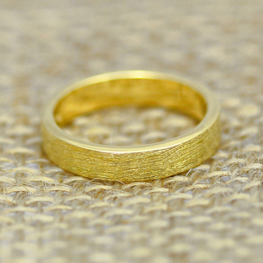 scottish and recycled gold etched flat profile 4mm ring by
