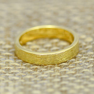 Scottish And Recycled Gold Etched Flat Profile 4mm Ring - wedding rings