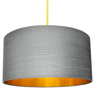 Ash Grey Silk Shade With Copper Or Gold Lining - lampshades