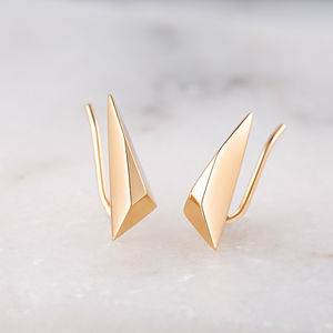 Faceted Triangle Climber Earrings - earrings