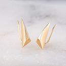 Faceted Triangle Climber Earrings