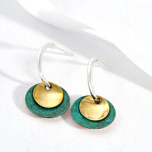Silver Green And Gold Half Hoop Earring - earrings