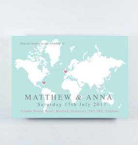 'Anna' Wedding Map Postcard Style Invitation - invitations