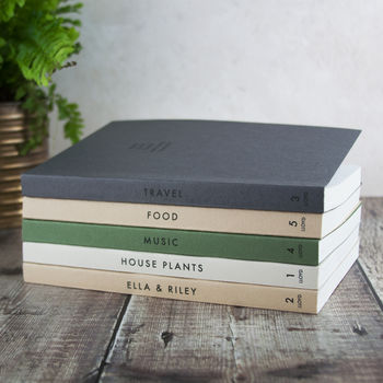 Set Of Five Personalised Interests Notebooks