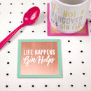'Life Happens, Gin Helps' Solid Copper Coaster