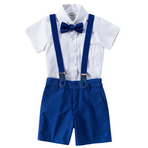 Ring Bearer Linen Blend Royal Blue Suit With Brace - clothing