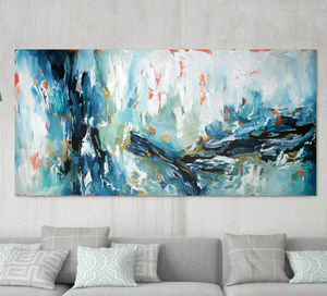 Large Blue Abstract Painting Custom Original - modern & abstract