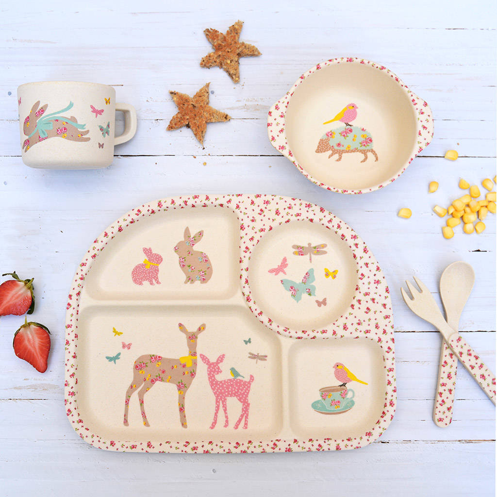 Children\u0027s Bamboo Dinner Set ~ Vintage Floral Woodland - baby \u0026 child sale  sc 1 st  Notonthehighstreet.com & Personalised Baby Plates and Children\u0027s Dinner Sets ...