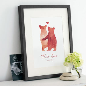 Personalised 'Bear Love' Print - nursery pictures & prints