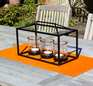 Triple Metal Frame Candle Holder - lanterns