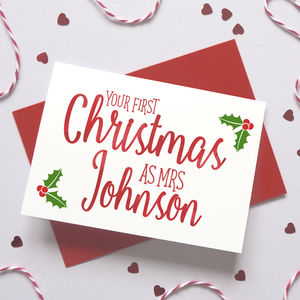 Personalised Wife's First Christmas Holly Card - personalised