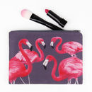 Flock Of Flamingos Printed Silk Zipped Bag