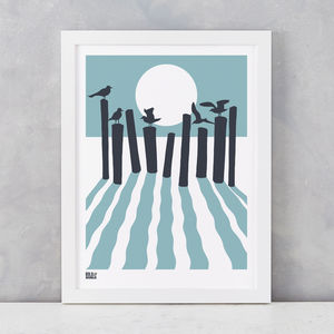 'On The Beach' Art Print In Coastal Blue - screen prints