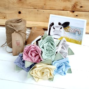 Get Well Soon Fabric Flowers With Engraved Tag