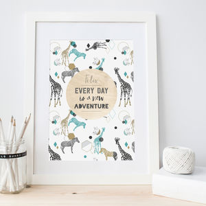 Personalised Kids Bedroom Print Teal