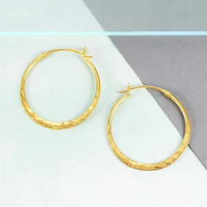 Battered Small Gold Hoop Earrings - earrings