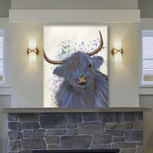 Colourful Coo, Multicoloured Highland Cow No1 Blue