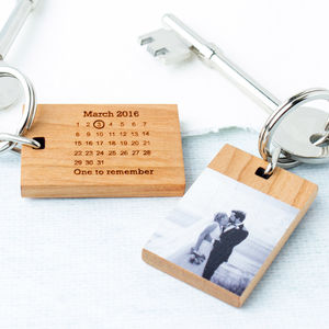 Personalised Photo Calendar Wood Keyring