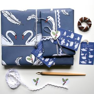 Swan Christmas Wrapping Paper Gift Set - cards & wrap