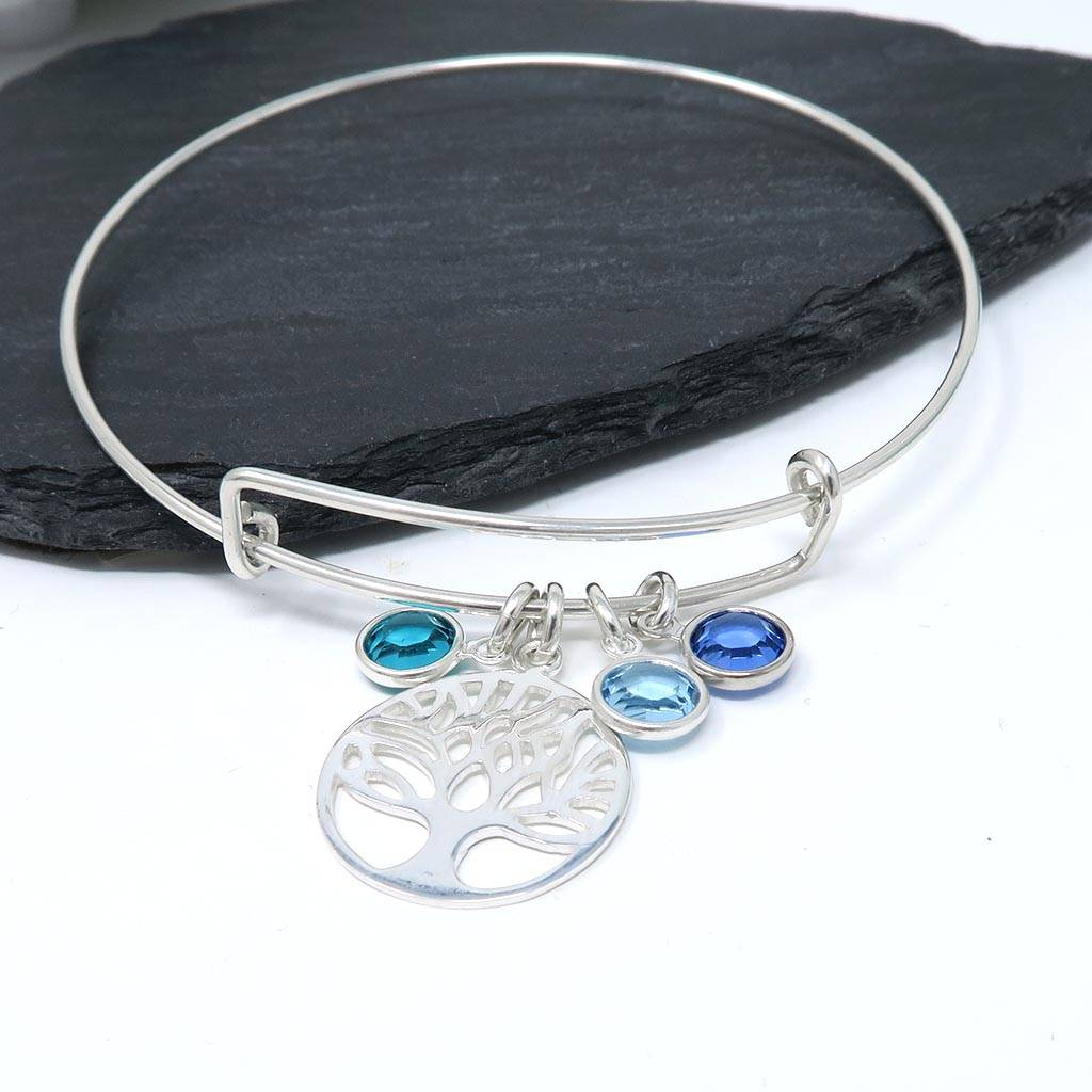 Family Tree Birthstone Bangle Sterling Silver