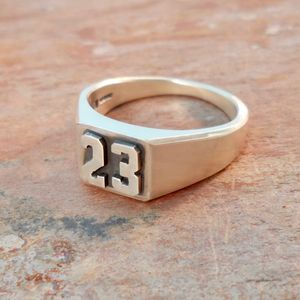 Personalised Double Digit Silver Signet Ring