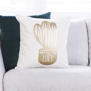 Personalised Cactus Tropical Cushion - living room