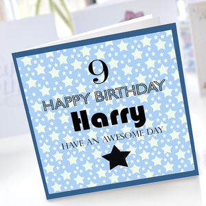 Boys 9th Birthday Star Card