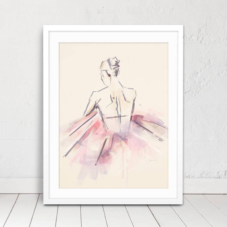 Pink Watercolour Ballerina Print