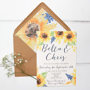 Sunflower Wedding Invitation And RSVP