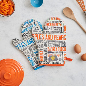 Cockney Rhyming Slang Oven Mitt - gifts for bakers