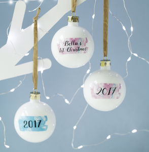 First Christmas Personalised Marble Print Bauble