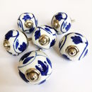 Set Of Painted Inky Blue Leaf Drawer Knob