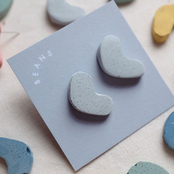 Concrete Shapes Earrings, Beans