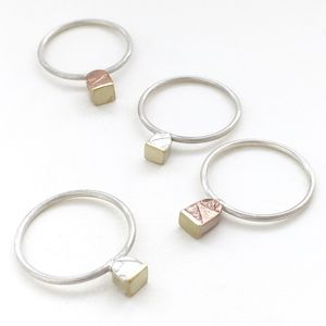 Tiny 'Cup Cake' Embossed Stacking Ring - rings