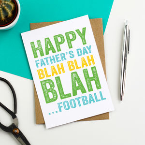 Happy Father's Day Blah Blah Blah Football Card - father's day cards