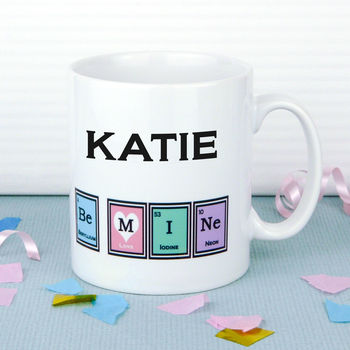 Personalised Valentine's Day Mug, Geek Periodic Table