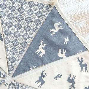 Grey Scandi Reindeer Christmas Bunting - home accessories