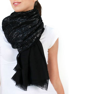 Womens Cocktail Hour Sequin Scarf, Amelie, Black - wedding fashion