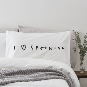 I Love Spooning Pillow Case - 2nd anniversary: cotton