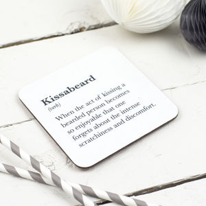 Funny 'Kissabeard' Beard Coaster - valentine's gifts for her