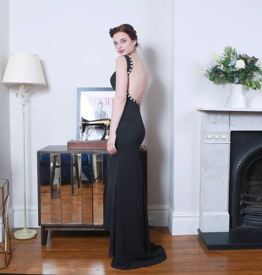 Backless Black Chiffon Evening Dress
