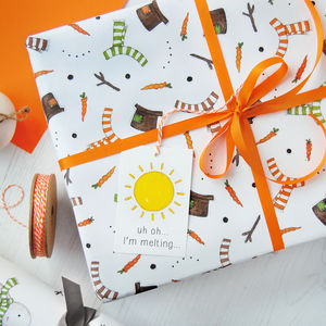 Melted Snowman Wrapping Paper Set - cards & wrap