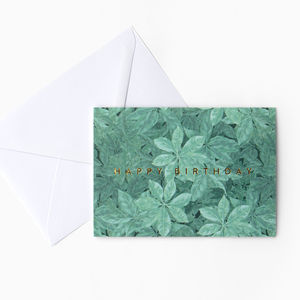 Light Green Leaf Foliage 'Happy Birthday' Card