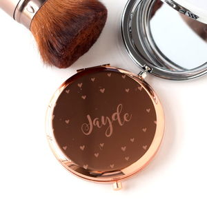 Engraved Multiple Heart Compact Mirror - compact mirrors