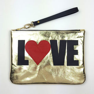 Love Slogan Gold Leather Bag Clutch To Crossbody Bag - womens