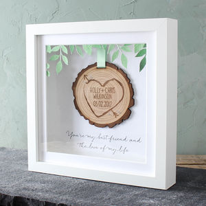Personalised 3D Wooden 'Tree Slice' Keepsake Frame - 5th anniversary: wood
