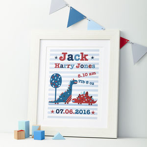 Boys Personalised Dinosaur Framed Print