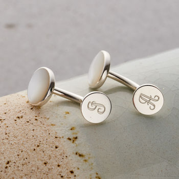 Personalised Mother Of Pearl Cufflinks with personalised initials on base