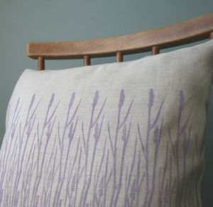 Hand Printed Grasses Print Linen Cushion Cover