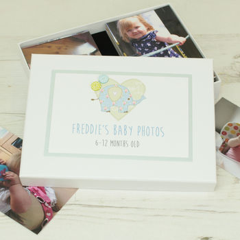 Personalised Elephant Children's Photo Storage Box